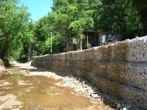 The stream bank next to Deanna Young's home after stabilization.