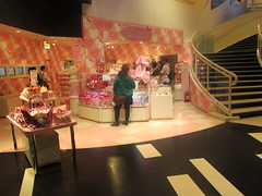 Hello Kitty's House Shop at Puroland in Japan (Suki Melody) Tags: hello park pink wallpaper cute statue japan shop stairs cat shopping hearts tokyo store stair kitty towel case goods sanrio purse staircase kawaii shops theme characters accessories bags blankets purses pouches totes puroland