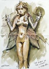 The Queen of the Night (Ben Levitt) Tags: london drawing terracotta sketching sketchbook britishmuseum babylon queenofthenight burneyrelief mesopotamian babylonia locationdrawing benlevitt