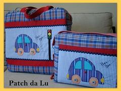 Conjunto Mala e bolsa passeio Fusca Bala (Patch da Lu) Tags: