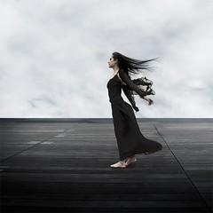 BNF (geoffroy demarquet) Tags: sky woman white black 6x6 clouds hair square eyes noir