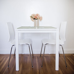 Table for Two (Design.Her) Tags: flowers light two white ikea kitchen square table design nikon chairs wideangle symmetry fresh diningroom kitchenette d90 designher tokina1116mm