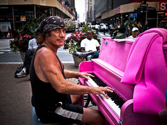 Street piano (sjmgarnier) Tags: street newyorkcity pink portrait people urban usa streetart newyork man audience manhattan broadway piano july sidewalk pianoplayer avenueoftheamericas 2011 greeleypark streetpiano pinkpiano colorstreetphotography