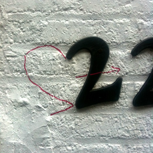 negative space of a number 2 turned into a heart #walkingtoworktoday