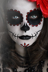 Day of the Dead (Lou Bert) Tags: portrait woman selfportrait art halloween girl face make up souls saint rose self dayofthedead skull beads costume war paint day dress makeup fancy dadelosmuertos laurenbatesphotography