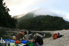 Break fast prep on the Kameng river Adventure rafting and Kayaking trip