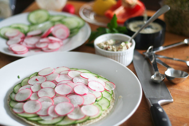 Cucumber and Radish Tortilla Wrap in the making