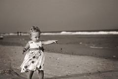 Sandy dresses (II) (ben.minor) Tags: ocean cute beach water 50mm sand nikon child play dress daughter northcarolina pout mad dslr 18 50 playful pouting dapper todder d3000