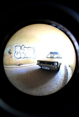 (d.o.photo) Tags: light shadow fish eye contrast volkswagen point graffiti photo do shoot photographer view dom tunnel harris caddy