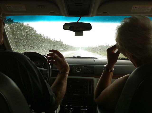 driving through the rain