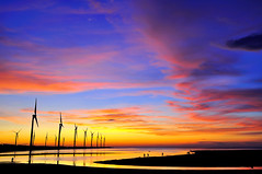 Sunset in Kaomei Wetland (Vincent_Ting) Tags: sunset sky nature water windmill silhouette clouds nikon taiwan windmills  formosa   windturbine wetland  windturbines        formose