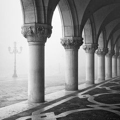 Venetian Arches (MaggyMorrissey) Tags: venice mist lamp fog dawn san arch arches palace marco venetian column marble palazzo ducale doges stmarkssquare
