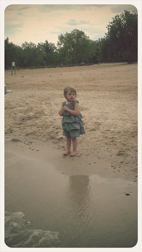 Cute Ora nervous to go.in the water