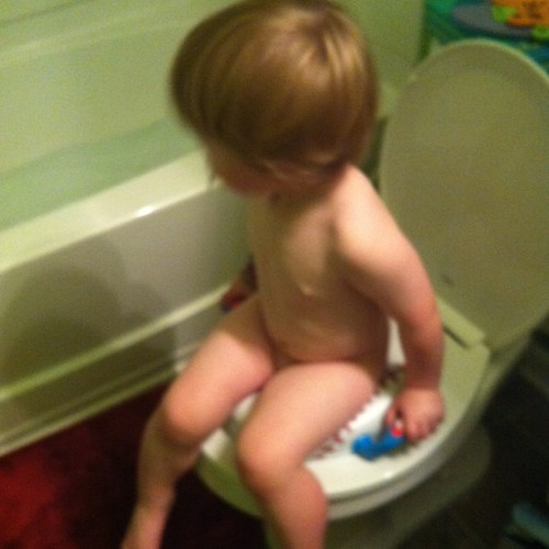 Saturday: first time on potty (at home)