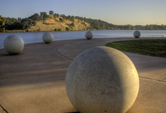 Spheres (Gryffngurl) Tags: california statepark park morning trees summer sky college nature water river outdoors fishing unitedstates folsom bridges ducks naturallight center area sacramento recreation aquatic centralvalley americanriver motherlode lakenatoma watersculpture 2011 challengeyouwinner sonya200 thechallengefactory nimbusflat virtualjourney virtualjourney2
