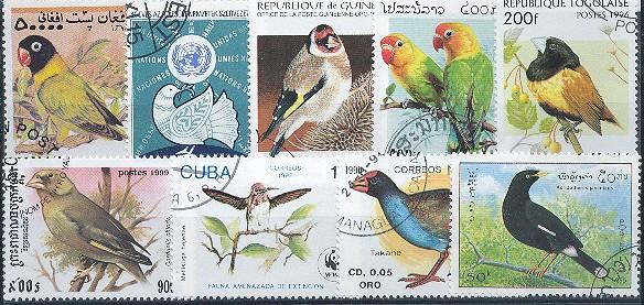 Známky - 25 rôznych, vtáky