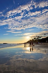 beach walk (Eric 5D Mark III) Tags: ocean light sunset sky people usa cloud dog seascape color reflection beach water vertical canon landscape photography mood unitedstates walk atmosphere wideangle burst orangecounty oc tone lagunabeach mainbeach ericlo ef1635mmf28liiusm eos5dmarkii
