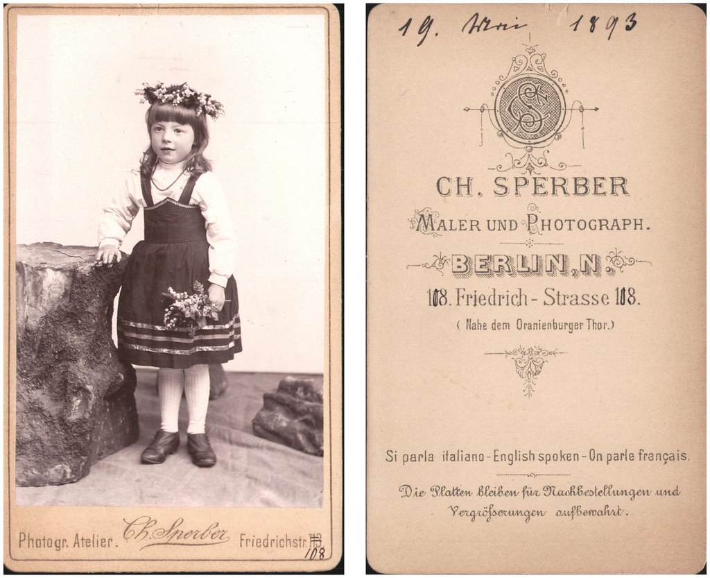 Sweet young girl with flower posy, by Sperber, Berlin, 1893