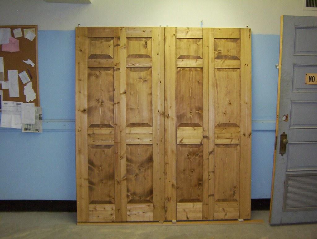 bi-fold doors knotty pine