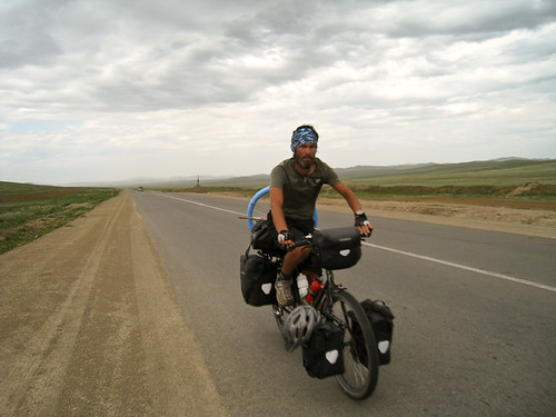 Justin cycling towards Ulaanbaatar