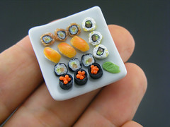 Sushi Platter (Shay Aaron) Tags: food white black sushi square cuisine japanese miniature raw dish bright handmade maki salmon mini row clear polymerclay fimo tiny eggs nigiri elegant 12th 112 assorted insideout dollhouse petit californiaroll oneinchscale shayaaron