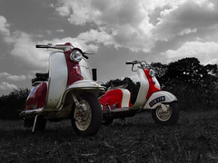 Lambretta colours (Steve and his really incredible camera) Tags: red cloud white black color colour grass mod 60s vespa ride maroon wheels transport scooter lambretta hempstead motorbike moped hertfordshire hemel selective