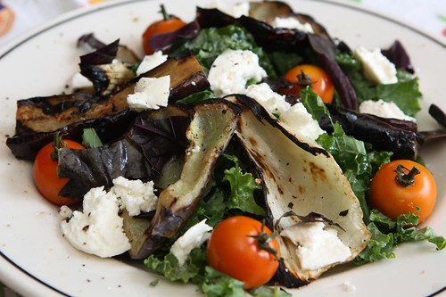 Grilled Eggplant, Fennel, and Lilac Pepper Salad with Cherry Tomatoes, Mozzarella, Opal Basil, and Kale