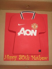 Manchester United Jersey (Sweet Eats by Karie-Anne) Tags: red cakes sports football soccer nike jersey manchesterunited logos fondant sweeteatsbykarieanne