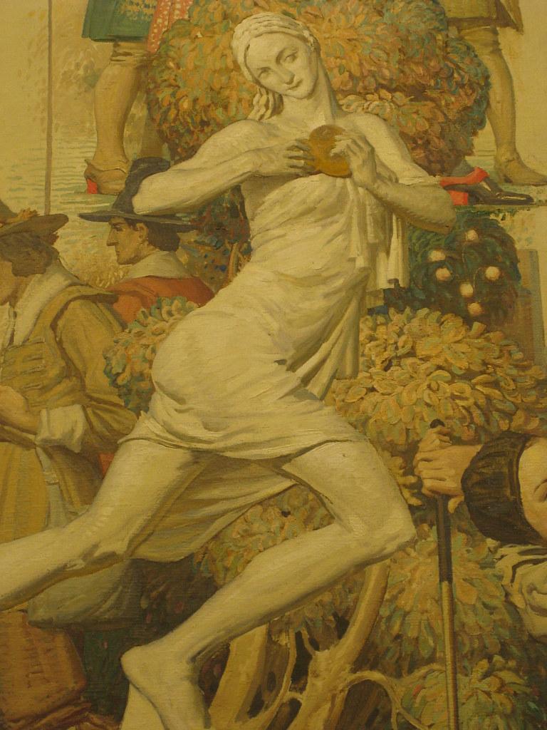 "Detail of Napier Waller's Mural ""Summer - Sports Through the Centuries"" - Myer Emporium Mural Hall, Bourke Street, Melbourne"