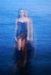 Artificial Mermaids (kyra ashtin.) Tags: blue lake water girl fashion walking dress doubleexposure eerie double pale mermaids merky promdress