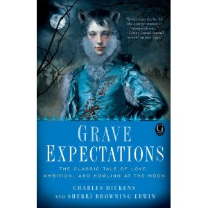cover of grave expectations. a young white man wearing blue is starting to turn into a werewolf by sprouting dog ears and a beard