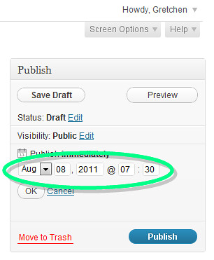 scheduling publish screenshot