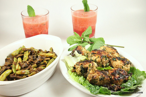 Day 222 - Chicken Spinach Balls, Mushroom Beans Stir Fry and Mint Watermelon Juice