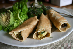 Crepes with Egg, Spinach, Mushroom & Parmesan