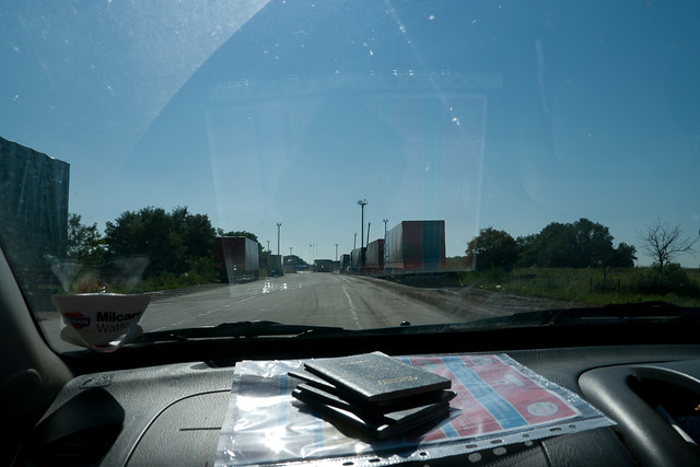 paperwork on dashboard of car crossing ukraine border
