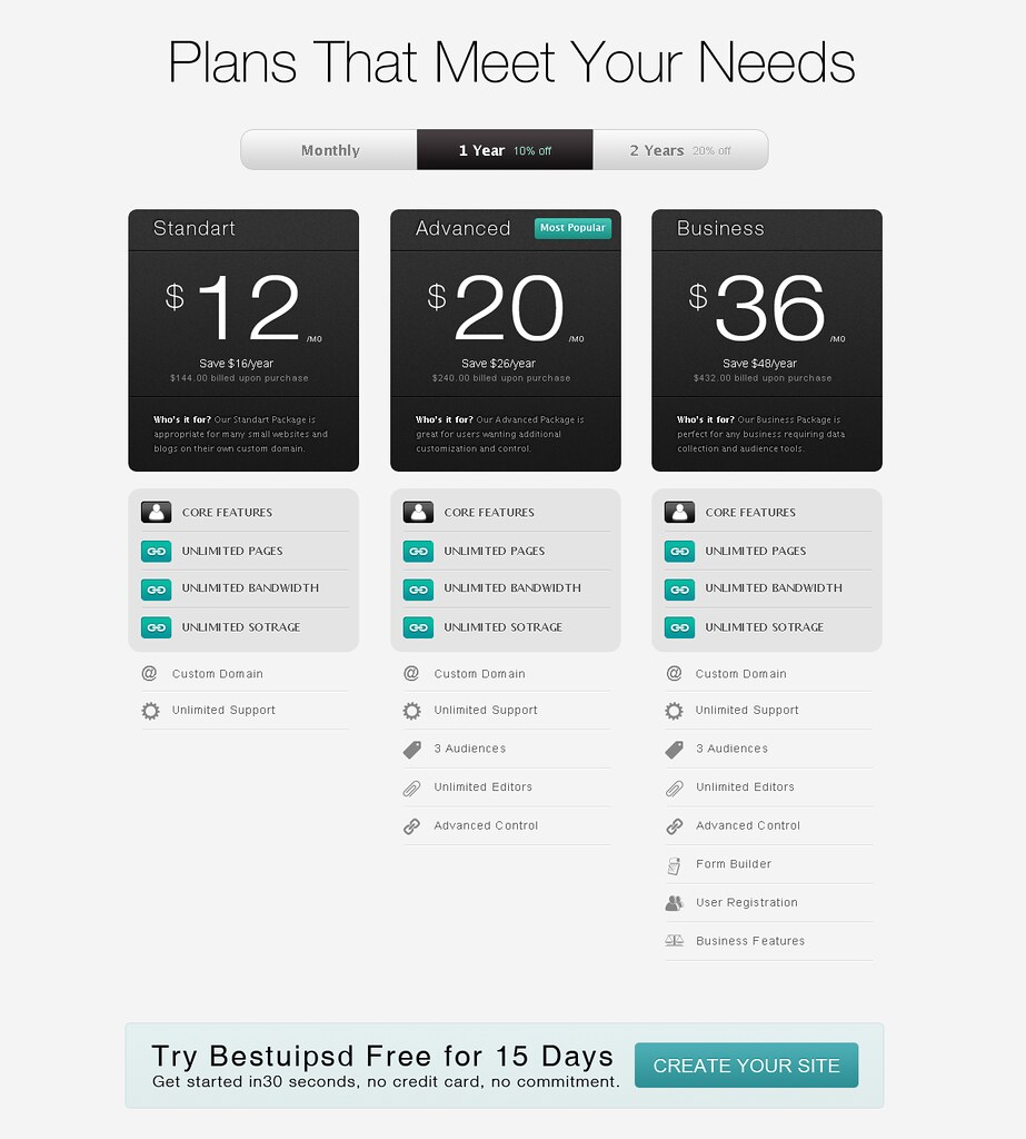 Strada Pricing Table Web Element UI PSD