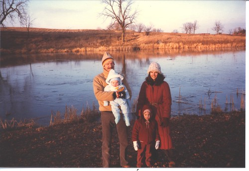 1984 At the old Petrie Wisconsin Land with Mom, Dad, and Evan