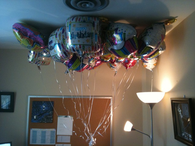 Balloons in an office