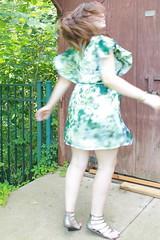 Outfit - gladiator sandals, Monet's Garden dress