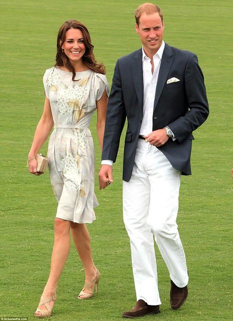 Kate Middleton keeps it simple in a fresh and floral dress as she and Prince William mingle with celebrities at charity polo match  1