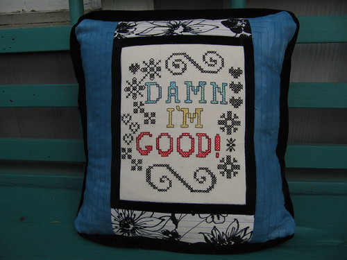 Damn I'm Good Embroidered Pillow