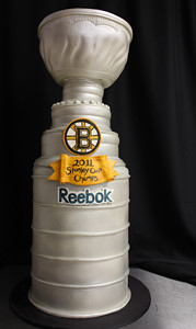 Sculpted Stanley Cup Bruins Cake