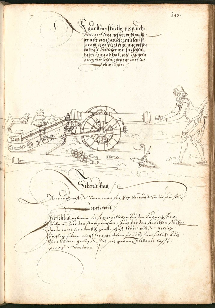 Early Modern manuscript warfare drawing -  Artilleriebuch 1582 BSB h