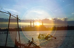 Manhattan, from Brooklyn (scott w. h. young) Tags: city light sky sun love film set brooklyn 35mm river manhattan east