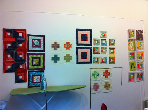 Design Wall of Blocks at the Log Cabin Quilting class