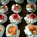 Chocolate cup cake with fondant flower