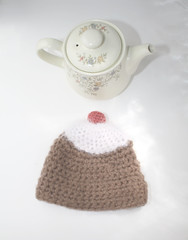 Iced Chocolate Cupcake Tea Cosie With Pink Cherry (GezuntehMoid) Tags: pink brown white wool cherry handmade chocolate housewares novelty cover knitted cocoa teacozy teacosy teacosie teapotcover upcycledwool icedicing