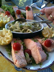 Poached Salmon with Cucumbers from the Garden