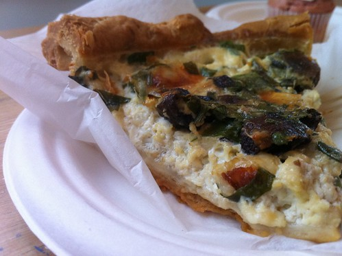 Mushroom-spinach quiche at Sweet Cakes