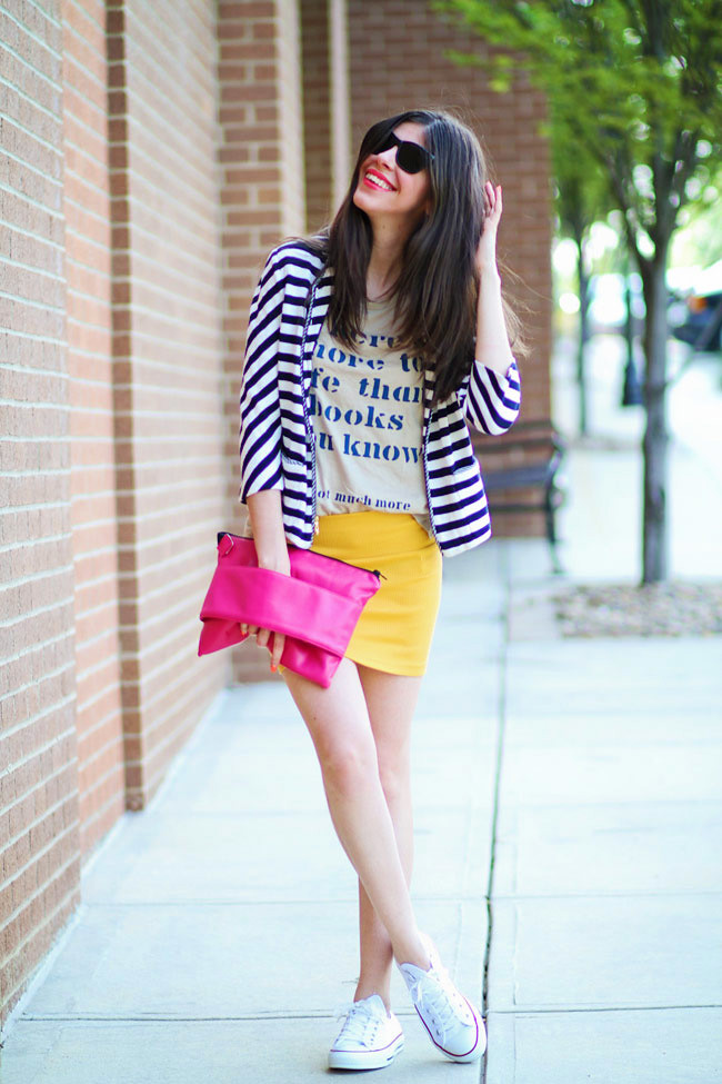 Stripes, Fashion Outfit, Bright Yellow Mini Skirt, Chuck Taylor Converse
